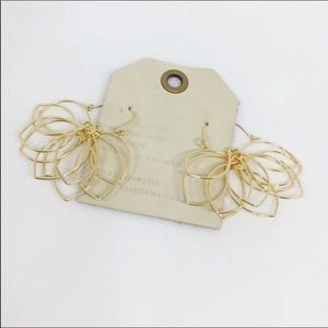 NWT Anthropologie gold floral earrings